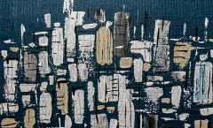 City panorama -Tecnica mista su juta - cm-50x70 - 2015
