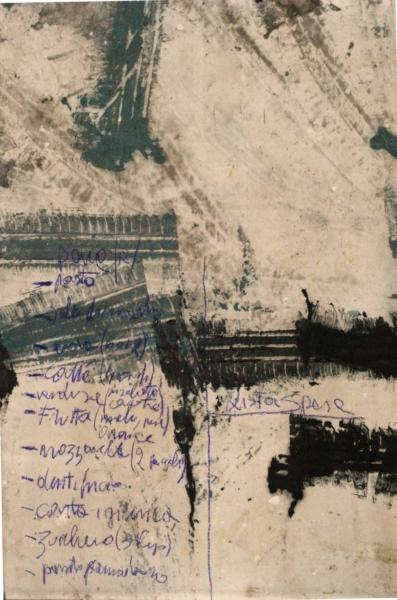 Tracce pneumatiche+Lista della spesa Acrilico su tela satin - cm 110x165 - 2015 - € 999