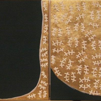 La ricchezza non è oro - Acrilico, foglia oro e silicone su tela dittico - cm120x60