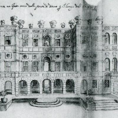 Plautilla Bricci, Vascello - Prospetto longitudinale, 1663 (Roma, Archivio di Stato)