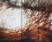 Athanor, 2017, tecnica mista con resina su legno, 100x220 cm