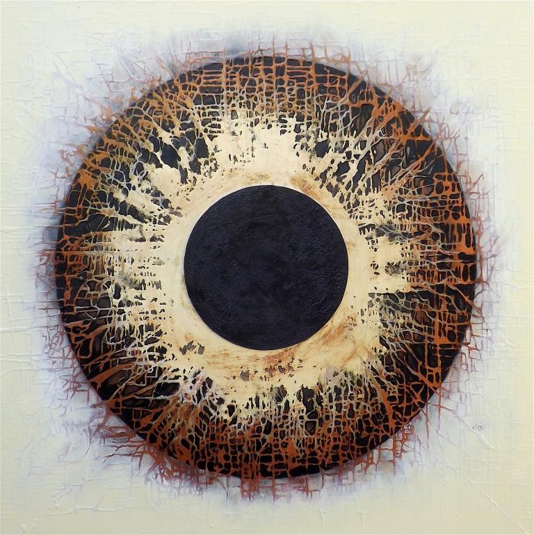 Into the Void, 2017, tecnica mista con resina su legno, 120x120 cm