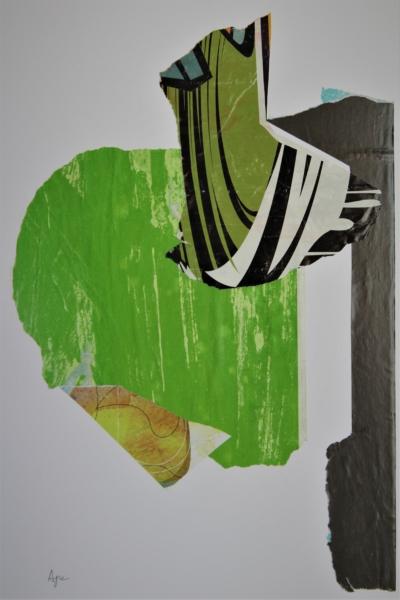 Pennellata verde Collage con manifesti di carta – cm 52x38x3 – € 330