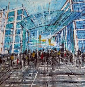 Berlin Hanptbahnhof - acrilico su tela - cm. 30x30