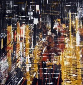 Luci nella notte n° 1 - tecnica mista - cm- 30x30