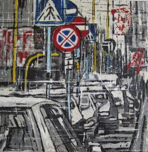 Segnali in città - acrilico su tela - cm. 30x30