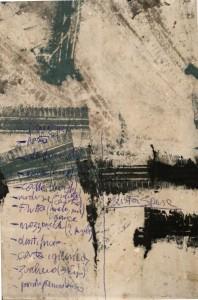 Silvano Debernardi Tracce pneumatiche+Lista della spesa, 2015.  Acrilico su tela satin, 110x165 - € 999